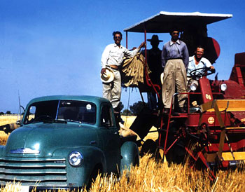 Borlaug with trainees and field equipment