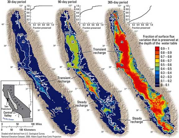 Three maps of aquifer recharge in California