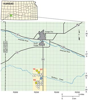 Map of Dodge City, KS, showing area where wastewater is being used for irrigation