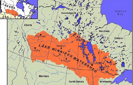 map of lake winnipeg watershed