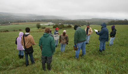 Farmers and advisors consult in field