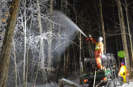 Rociado de árboles con agua para experimento de hielo en bosque