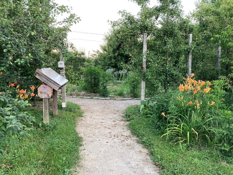 Entrada al jardín comunitario urbano con sendero para caminar, flores y árboles.