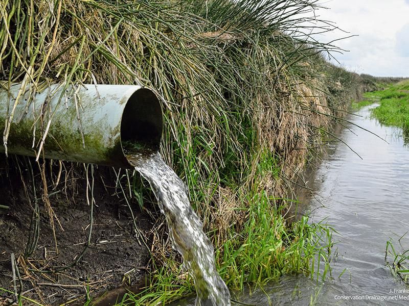 Tubería de drenaje de baldosas subterráneas que vacía el agua en una zanja de campo
