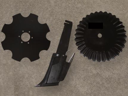 Foto comparativa de vástago, reja y disco.