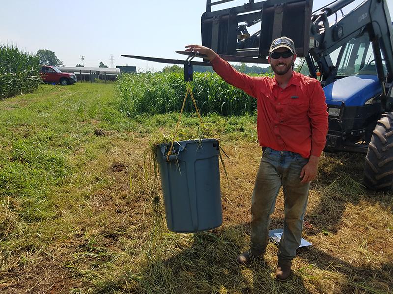 Investigador pesa cultivos de biomasa en un contenedor grande desde la parte delantera de un tractor